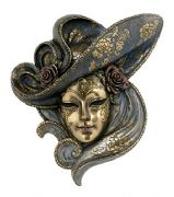 Masquerade Fancy Dress Venetian Woman Mask with Rose Bronze Effect Wall Plaque Home Decoration